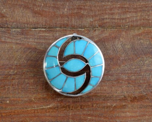 Vintage Sterling Silver Turquoise Inlay Pin/Pendant