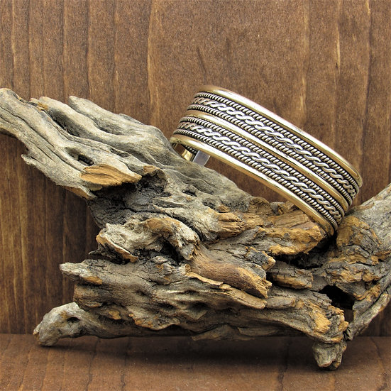 Navajo Sterling Silver and Gold Filled Cuff Bracelet by Tahe