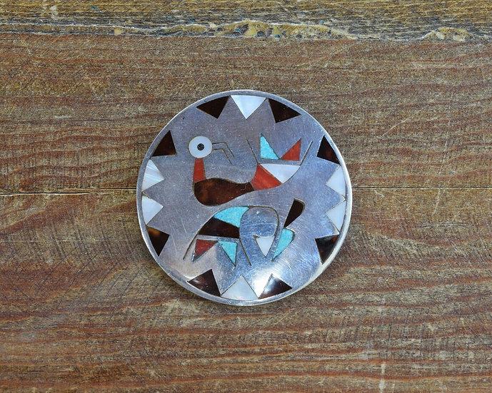 Vintage Zuni Sterling Silver Multi-Stone Inlay Bird Pin/Pendant Lolita Natachu
