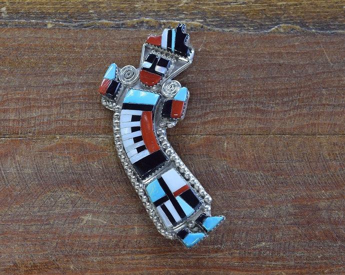 Vintage Zuni Rainbow Yei Multi-Stone Inlay Sterling Silver Pendant and Pin
