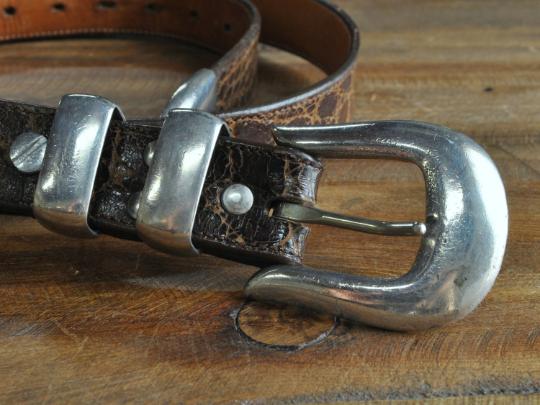 Vintage Sterling Silver Ranger Set on Leather Belt