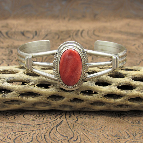 Navajo Sterling Silver Red Spiny Oyster Cuff Bracelet By Larson L. Lee