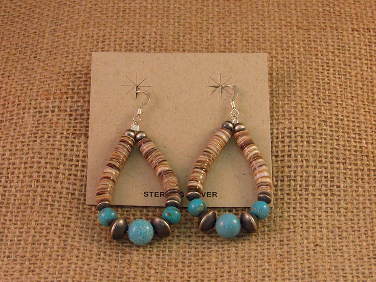 Navajo Turquoise Heshi Bead Sterling Silver Hoop Earrings