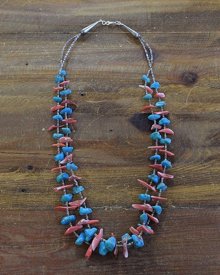 Vintage Turquoise, Spiny Oyster, Heishi and Sterling Silver Beaded Necklace