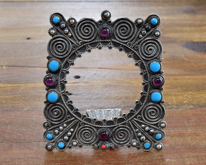 Sterling Silver, Amethyst and Turquoise Picture Frame from Mexico