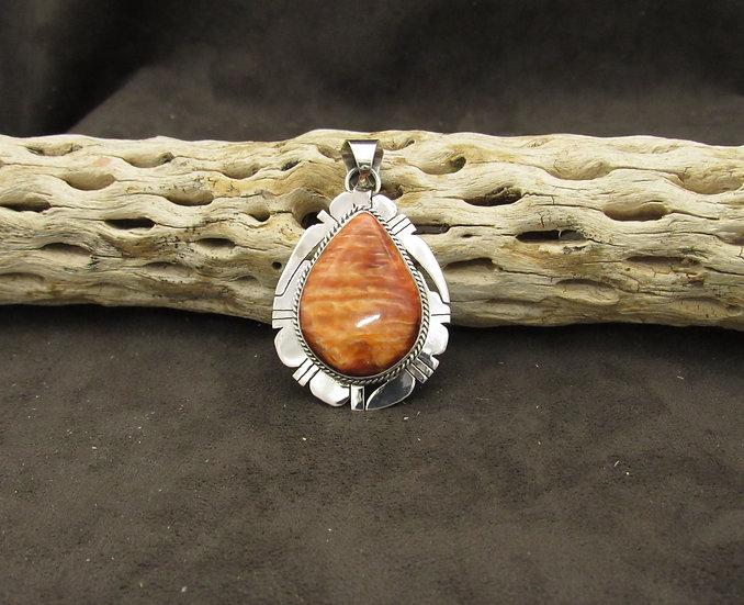 Navajo Burnt Orange Spiny Oyster Pendant by Kathleen Yazzie