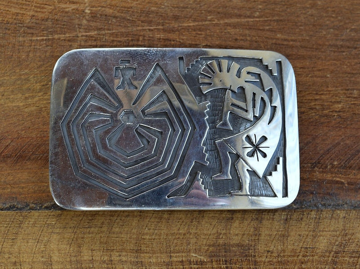 Navajo Sterling Silver Kokopelli and Man in the Maze Overlay Belt Buckle