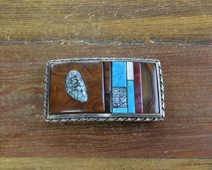 Vintage Multi-Color Inlay Sterling Silver Belt Buckle