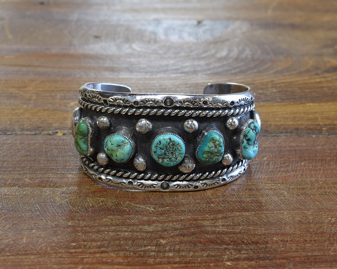 Navajo Sterling Silver Turquoise Cuff Bracelet by Peggy Gishie