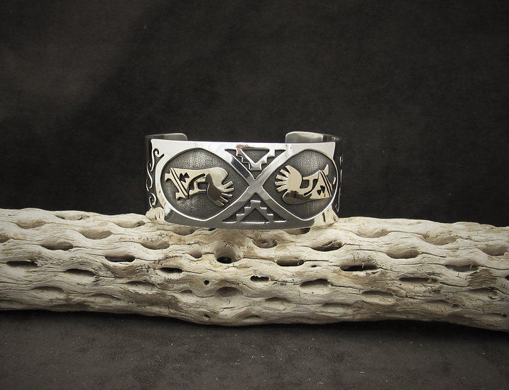 Sterling Silver and Gold Filled Kokopelli Cuff Bracelet