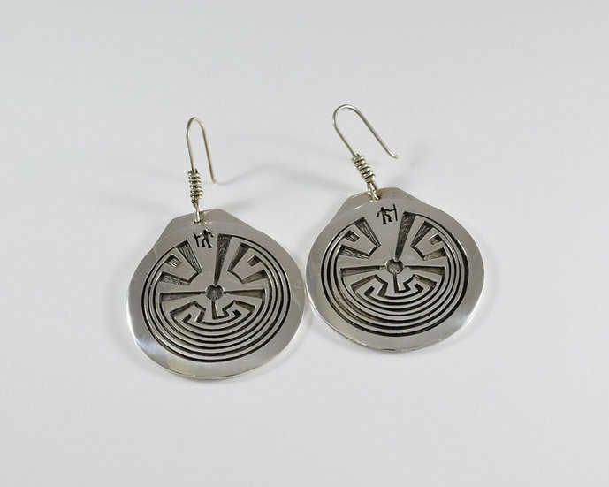 Sterling Silver Overlay Man in the Maze Earrings by Rick Manuel