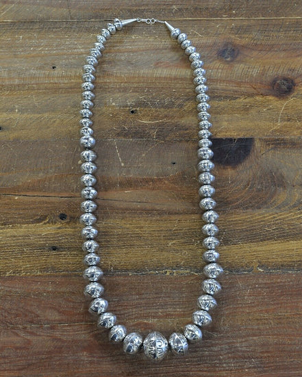 Sterling Silver Handmade Navajo Silver Bead Necklace