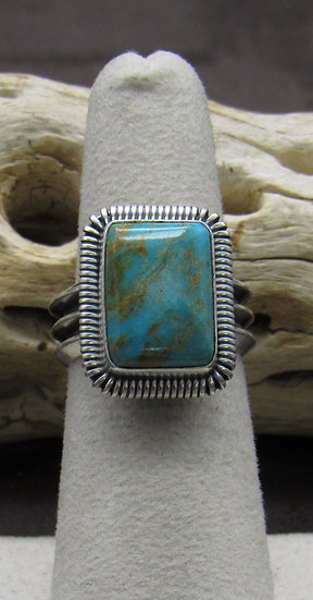 Rectangle Turquoise and Sterling Silver Ring Size 6 1/4