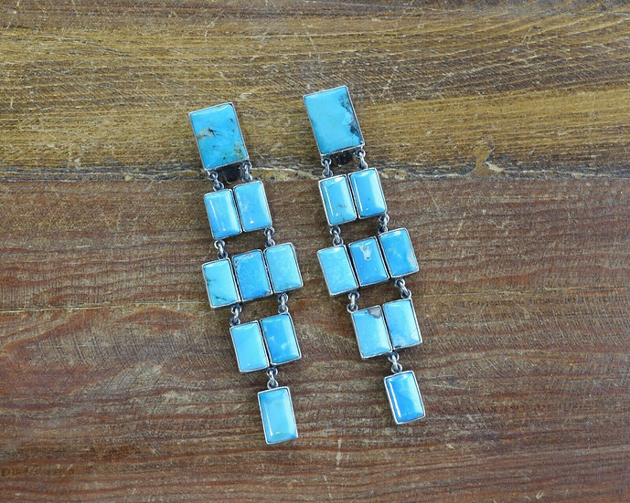 Vintage Mexican Turquoise Sterling Silver Clip-On Earrings by Federico Jiménez