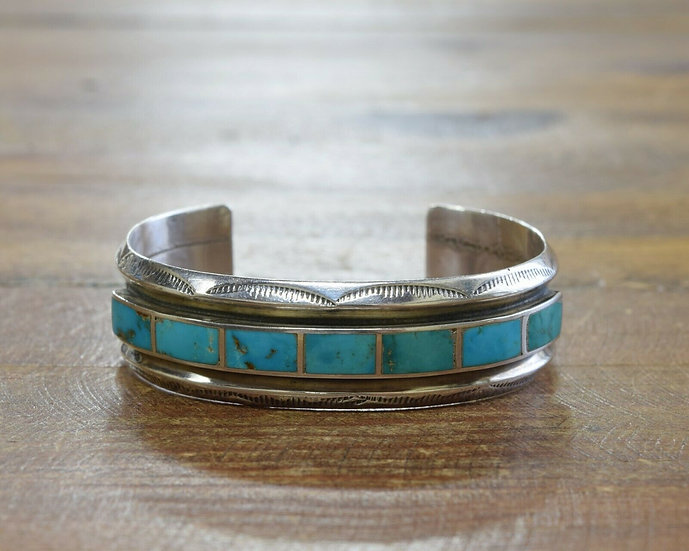 Vintage Turquoise Inlay Sterling Silver
