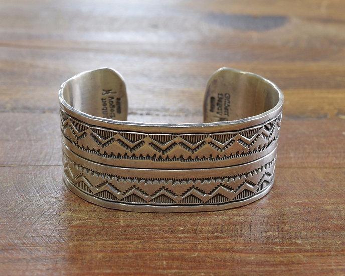 Vintage Gilbert Begay Navajo Sterling Silver Cuff Bracelet
