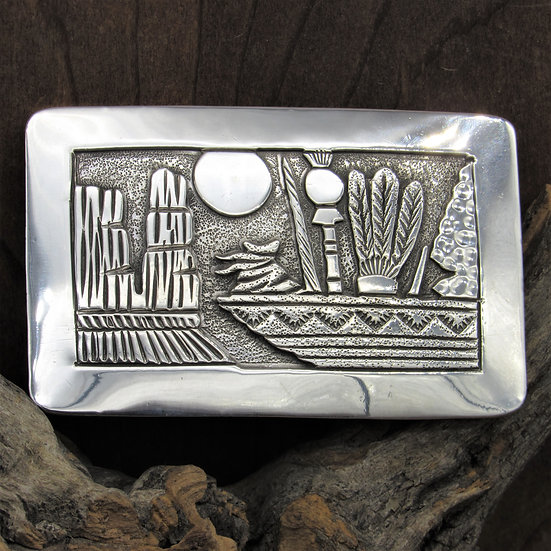 Navajo Sterling Silver Overlay Belt Buckle by Lloyd and Floyd Becenti Jr.