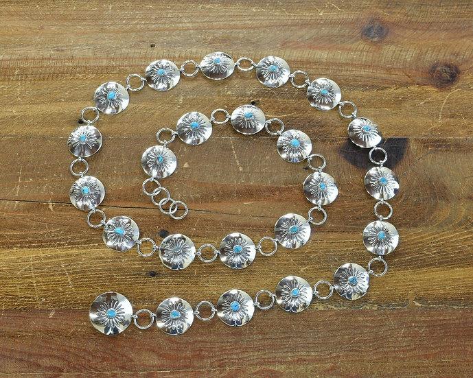 Vintage Southwestern Turquoise Sterling Silver Concho Belt