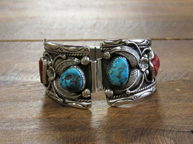 Vintage Turquoise and Coral Sterling Silver Watch Band