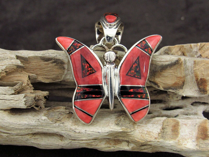 Navajo Sterling Silver Inlay Butterfly Pendant by Calvin Begay