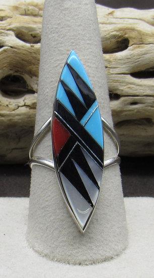 Zuni Made Multi Stone Inlay Ring Size 9 1/4