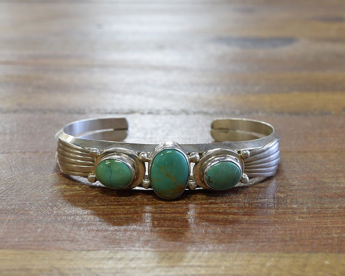 Sterling Silver Green/Blue Turquoise Cuff Bracelet