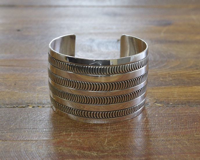 Navajo Stamped Sterling Silver Wide Cuff Bracelet