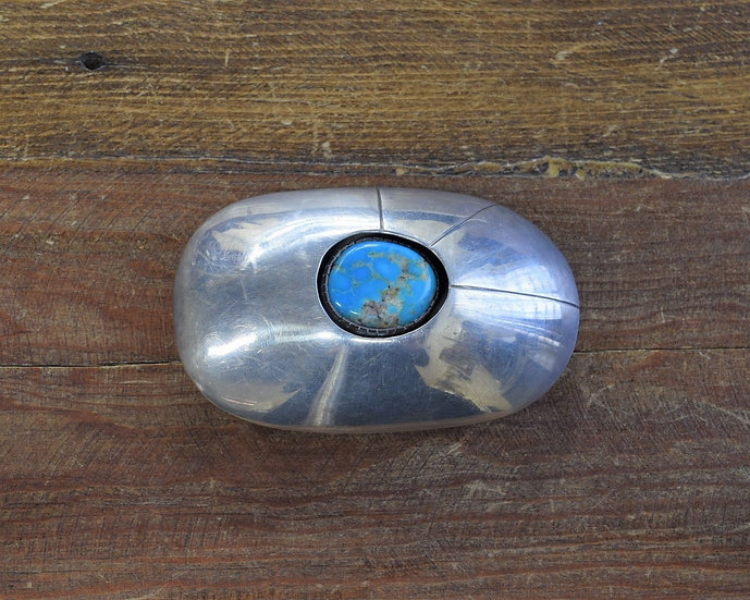 Vintage Sterling Silver and Turquoise Shadowbox Belt Buckle