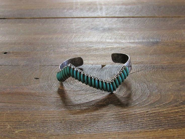 Zuni Turquoise Needle Point Cuff Bracelet by Agnes Bowekaty