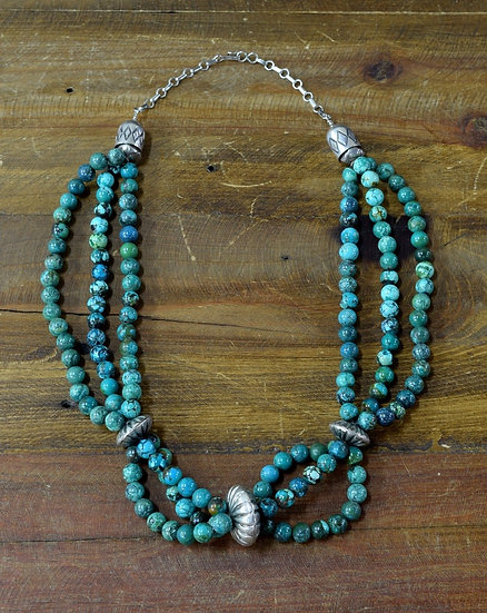 Vintage Southwest Three Stand Turquoise Sterling Silver Necklace