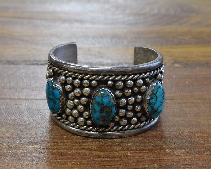 Vintage Sterling Silver Multi Stone Turquoise Cuff Bracelet