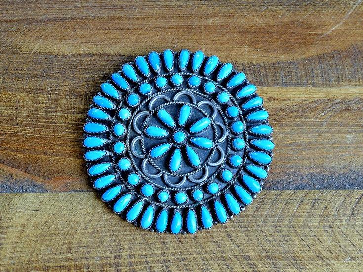 Vintage Navajo Turquoise Cluster Sterling Silver Brooch