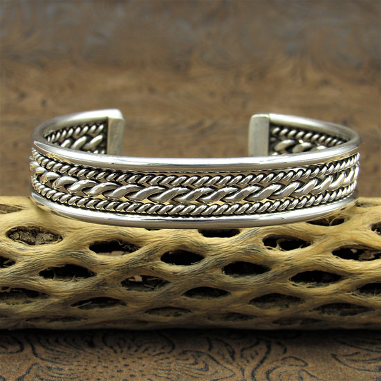 Navajo Sterling Silver Twisted Rope Cuff