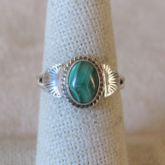 Sterling Silver and Malachite Ladies Ring Size 6.5