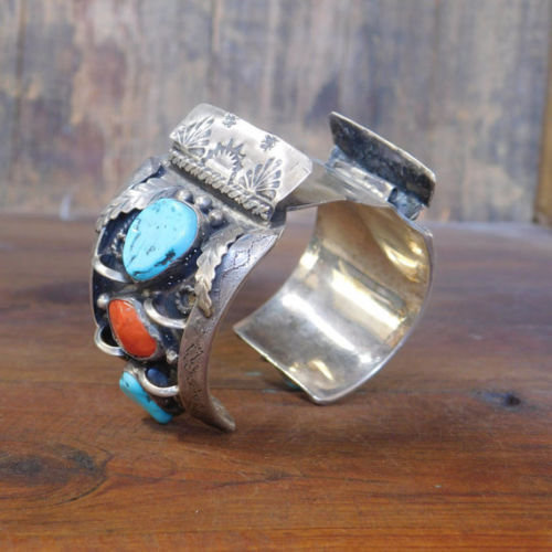 Vintage Southwest Sterling Silver Turquoise and Coral Watch Cuff Bracelet