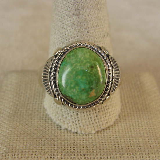 Sterling Silver and Green Turquoise Men's Ring Size 12.75