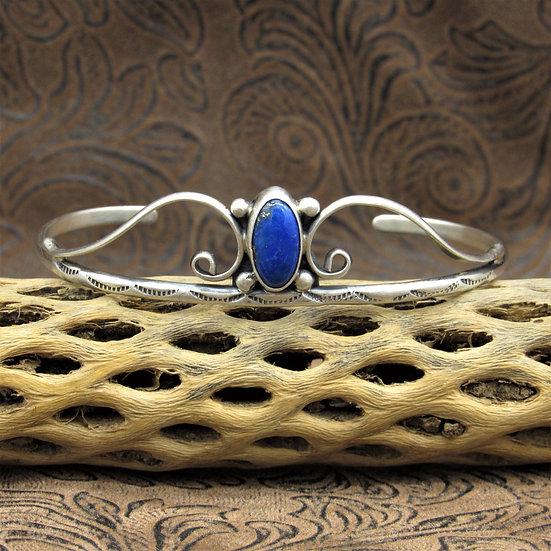 Lovely Sterling Silver Oval Lapis Cuff Bracelet