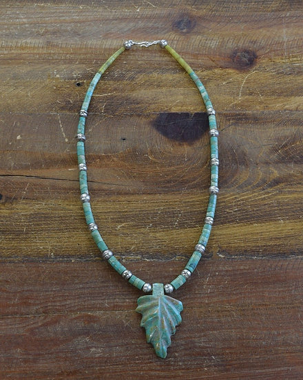 Navajo Green Turquoise and Sterling Silver Bead Leaf Necklace