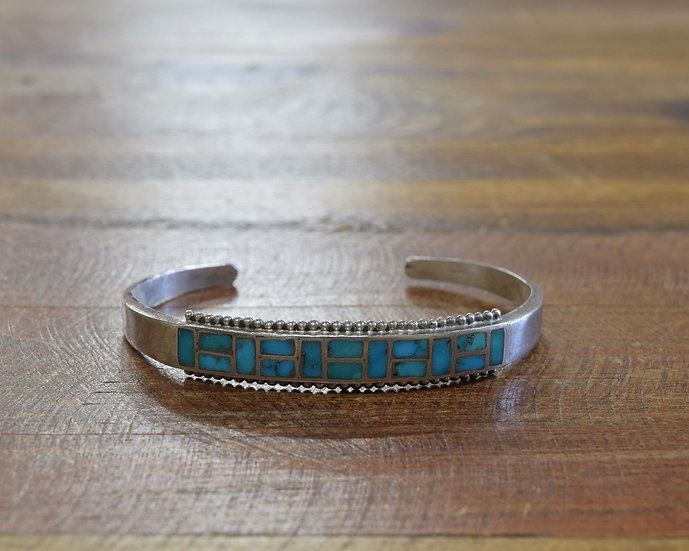 Vintage Sterling Silver and Turquoise Inlay Cuff Bracelet