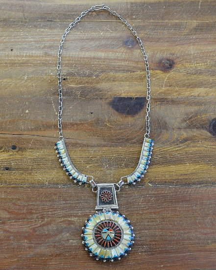 Vintage Multi-Color Inlay Sunface Necklace