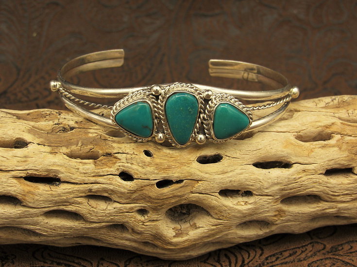 Green Turquoise Sterling Silver Cuff Bracelet by Roberta Begay