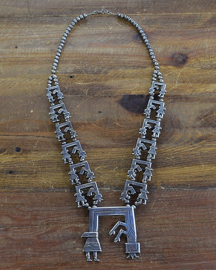 Vintage Navajo Sterling Silver Rainbow Yei Squash Blossom Necklace by Florence J