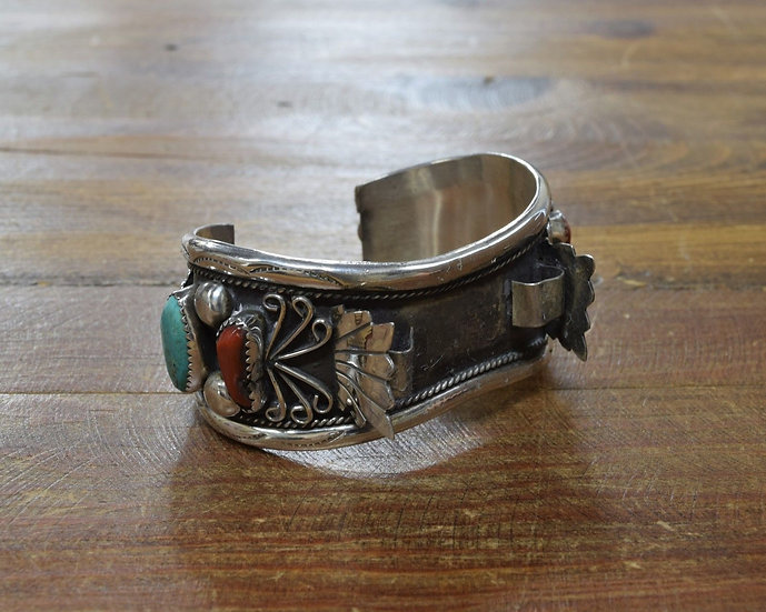 Vintage Navajo Sterling Silver Turquoise and Coral Watch Bracelet Foster Yazzie