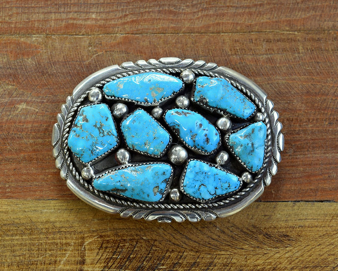Vintage Zuni RLB Sterling Silver and Turquoise Belt Buckle