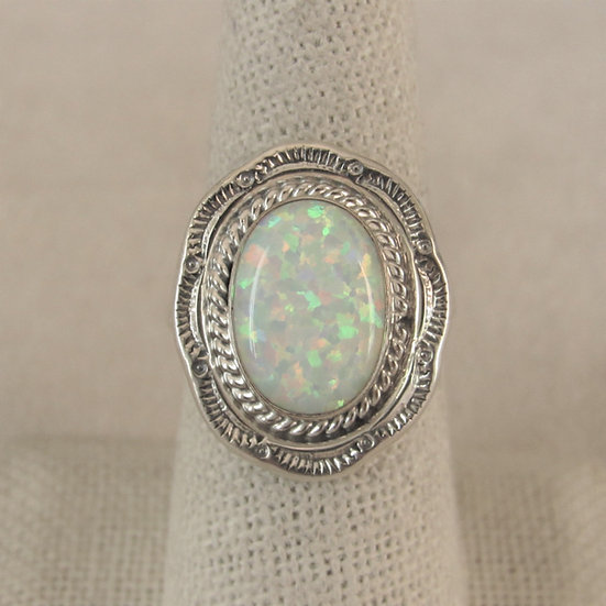 Amos Begay Sterling Silver and Lab Opal Ladies Ring Size 8.25