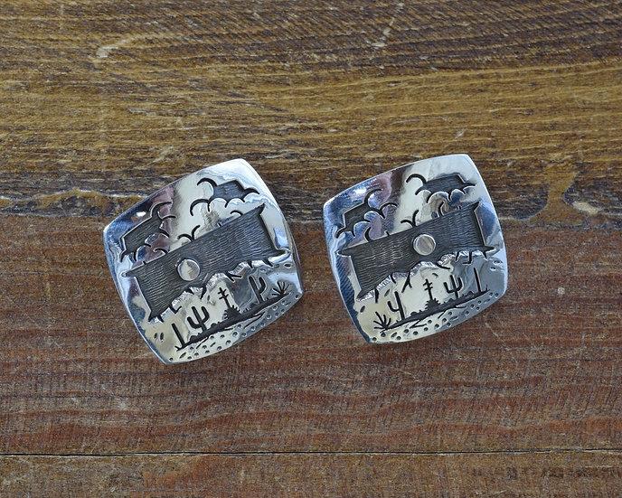 Saguaro Storm Desert Scene Overlay Sterling Silver Post Earrings by Rick Manuel