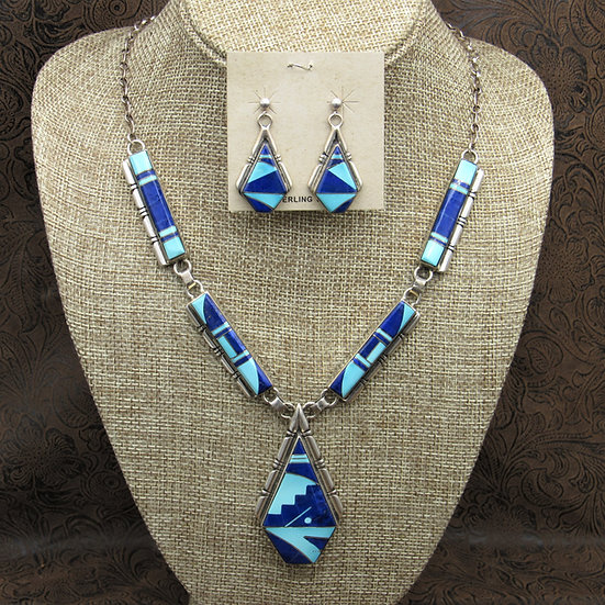 Sterling Silver Lapis And Turquoise Inlay Necklace And Earrings Set By A. Yazzie
