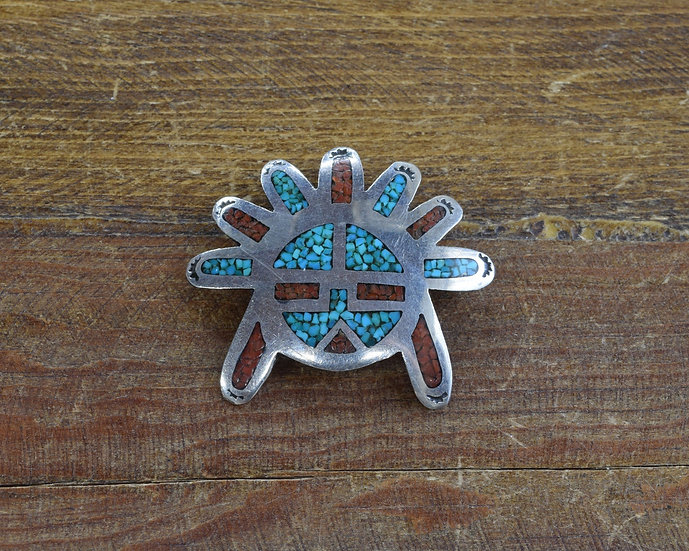 Southwest Turquoise Chip Inlay and Sterling Silver Sun Mask Pin/Pendant
