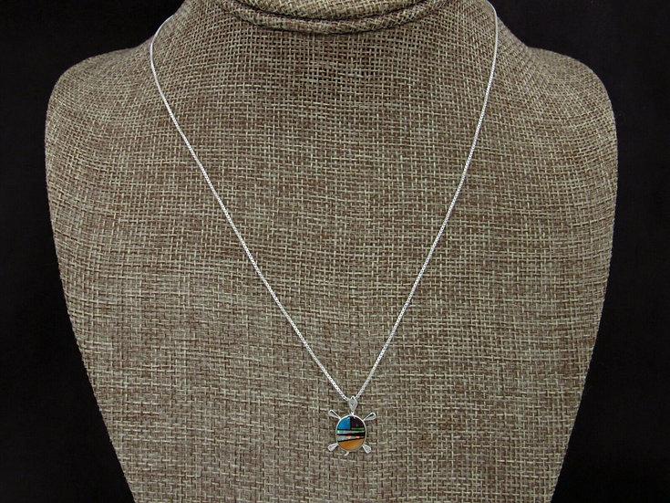 Multi-Color Turtle Inlay Necklace