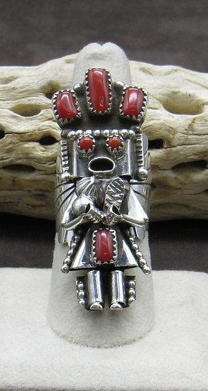 Coral Kachina Ring Size 7 1/2 Made by Doris Smallcanyon
